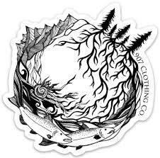 Salmon Mountains And Roots Vinyl Stickers 907 Clothing Co