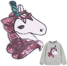 Amazon Com Unicorn Sequin Patches Kids Iron On Or Sew On Appliques Hot Transfer Stickers With Sparkling Glitter Embroidery Decals Design For Diy Decoration T Shirts Hoodies Jackets Jeans Backpack Bags Arts Crafts