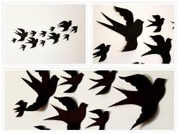 Paper Birds For Wall Bird Wall Art Black Wall Decals Etsy
