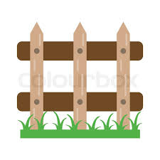 Garden Fence With Grass Cartoon Stock Vector Colourbox