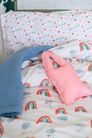 rainbow kids bedding set cotton organic