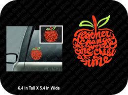 Teacher Car Window Decal Teacher Apple Car Window Decal Vinyl Etsy