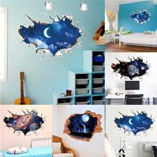 Diy Wall Stickers 3d Galaxy Space Removable Art Wallpaper Decal Mural Kids Room Living Room Bedroom Home Wall Decoration Wall Stickers Aliexpress
