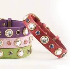 rhinestone leather dog collar diamonds