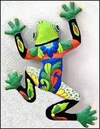 green hand painted frog metal wall