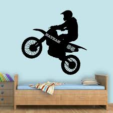 Vwaq Dirt Bike Wall Decals With Name For Boys Room Motocross Wall Stic