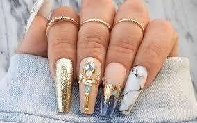 short long coffin shaped nail designs