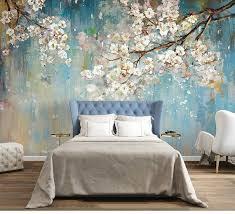 Fabulous Oil Painting Wallpaper Wall Mural Sakura Tree Wall Art For Bedroom Living Room Wall Murals Blooming Floral Wallpaper Wall Mural Tree Wall Murals Wall Wallpaper Wall Murals