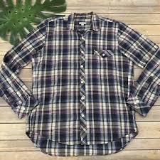 shirt size m purple white plaid long