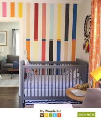 Love How This Turned Out Matt Saw A Pic In A Magazine And We Helped Him Recreate It Custom Stripe D Kids Room Wall Decor Girls Room Decor Playroom Wall Decor