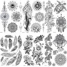 Lace Black Henna Temporary Tattoo Sticker Owl Mandala Waterproof Fake Tattoo Body Art Women 20x15cm Mehndi Bracelet Tatoo Paste Sticker Transparent Decal Car Stickersdecal Tattoo Aliexpress