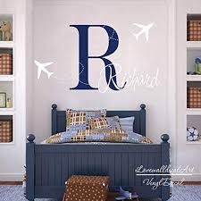 Amazon Com Personalized Airplane Name Decal Custom Airplane Boy Name Plane Wall Decal Sticker Vinyl Art Army Theme Kids Room Made In Usa Kitchen Dining