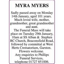 Myra Myers - Death - Herts Advertiser Series Announcements - Family Notices  24