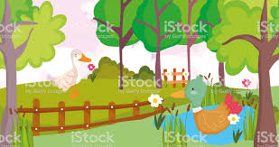 Goose And Duck In Lake Flowers Fence Farm Animal Cartoon Stock Illustration Download Image Now Istock