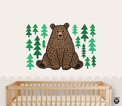 Nursery Bear Wall Decal Nursery Decor Bear Sitting And Etsy
