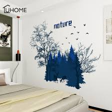 Waliicorners 3d Forest Landscape Wall Sticker Green Dark Blue Tree Removable Wallpaper Home Decor Bedroom Poster Mural Adesivo De Parede Waliicorner S Store