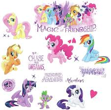 Amazon Com Roommates Rmk3551scs My Little Pony The Movie Peel Stick Wall Decals With Glitter Multicolor 8 Toys Games