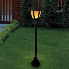 garden solar flame lamp post light