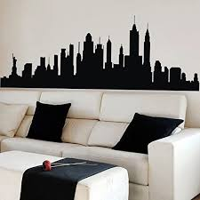 Amazon Com New York City Skyline Wall Sticker Vinyl Ctiy Wall Decor New York Wall Art Skyline Decal Black Home Kitchen