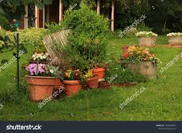 Flower Pots Wooden Fence Flowers Stock Photo Edit Now 1202596084