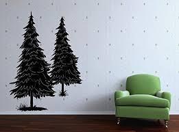 Amazon Com Vinyl Wall Decal Two Pine Tree Art Design Sticker Home Kitchen