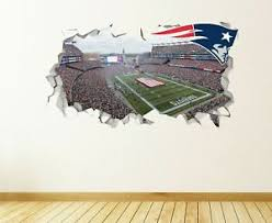 New England Patriots Wall Decal Smashed Nfl Sport 3d Art Sticker Vinyl Js1656 Ebay