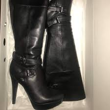 guess shoes leather high heels boots
