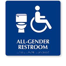 all gender restroom braille sign