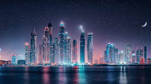 dubai skyline starry sky at night ultra