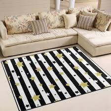 Amazon Com Ahomy Area Rug Black White Gold Stars Square Area Rugs For Living Room Bedroom Kids Room Home Decor 5 X7 Kitchen Dining