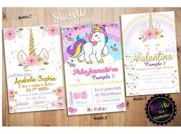 Invitaciones De Cumpleanos Personalizadas Unicornio X 5