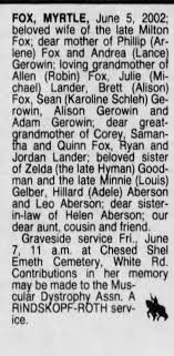 Obituary for MYRTLE FOX - Newspapers.com