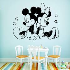 Disney Mickey Minnie Mouse In Love Wall Art Decal Wall Sticker Mural For Kids Room Living Room Bedroom Accessories Decoration Wall Stickers Aliexpress