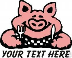 Bbq Pork Pig Restaurant Personalize Vinyl Sign Decal Harbour Signs