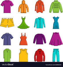 Different clothes icons doodle set Royalty Free Vector Image