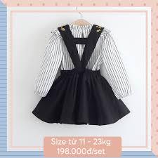 Thời trang Quần áo trẻ em bé gái trẻ con Set rời váy yếm đen & áo ...