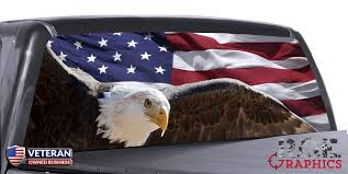American Flag Eagle Universal Truck Rear Window 50 50 Perforated Vinyl Roe Graphics And Apparel