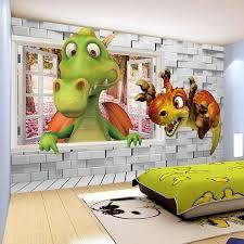 Hot Promo 0528 Custom Photo Wallpaper 3d Cartoon Cute Dinosaur Brick Wall Children Room Bedroom Background Wall Decor Mural Wallpaper Kids Cicig Co