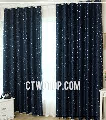 Navy Star Printed Kids Room Cute Blackout Curtains