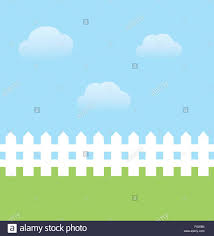 Vector Illustration Of Background With Sky Grass Fence Stock Vector Image Art Alamy
