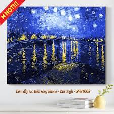Tranh sơn dầu số hóa có khung tô màu theo số ĐÊM ĐẦY SAO TRÊN SÔNG  RHONE-VAN GOGH SVNT008 ( Tranh trang trí phong cảnh )
