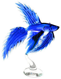 blue betta fish glass sculpture