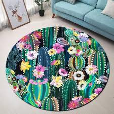 Tropical Cactus Flower Round Rugs And Carpets For Kids Baby Home Living Room Memory Foam Bedroom Hallway Floor Door Bath Mats Buy Rug Cardog From Olgar 14 82 Dhgate Com