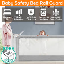 Baby Bed Rail Guard Fence Safety Bedrail Side Bumper Vertical Lift 7 Adjustable Height Gate Anti Fall Triple Lock Toddlerfinest