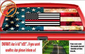 W1414 Thin Blue Red Line Usa Perforated Truck Car Wrap Decal Rear Window Sticker Ebay