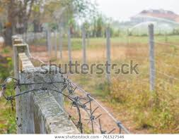 Barbed Wire Fence Post Objects Stock Image 761527546