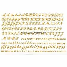 Alphabet Numbers Script Letters Gold Metallic Fused Glass Decal 3 8