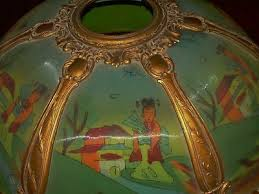 antique rare reverse painted glass lamp
