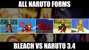 All Naruto Forms - Bleach Vs Naruto 3.4 - YouTube