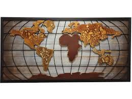 abstract world map wall art metal